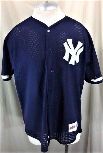 Vintage 90's Majestic New York Yankees Baseball (L/XL) Retro MLB Classic Logo Button Up Jersey