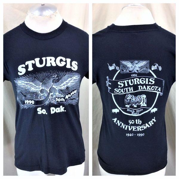 "Vintage 1990 Harley Davidson ""50th Annual"" (Med) Retro Sturgis Bike Festival Graphic T-Shirt"