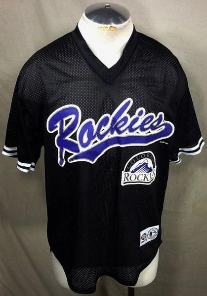 New!! Vintage Colorado Rockies Baseball Club (Med/Large) Retro MLB Classic Logo Polyester Black Jersey