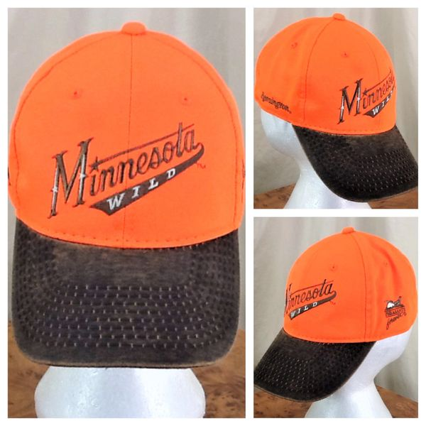 "Minnesota Wild Hockey Club & Pheasants Forever ""Script Lettering"" Hunting Give-A-Way Orange Velcro Strap Hat"