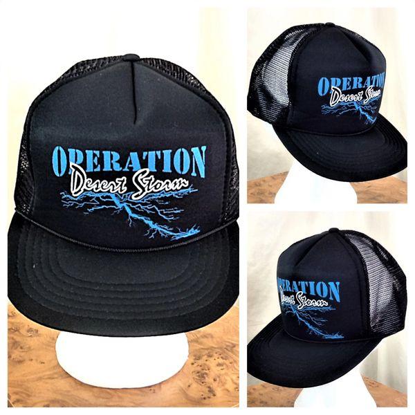 """Vintage 1991 Operation Desert Storm """"Lightning Strike"""" Retro Armed Forces Snap Back Hat"""