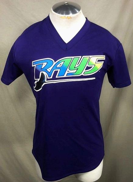 Vintage 90's Majestic Tampa Bay Devil Rays (Med) Retro MLB Baseball Graphic Polyester Jersey