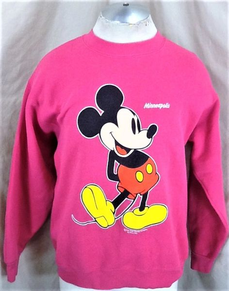 "Vintage 90's Mickey Mouse ""Minneapolis"" (Large) Retro Walt Disney Cartoons Crew Neck Sweatshirt"