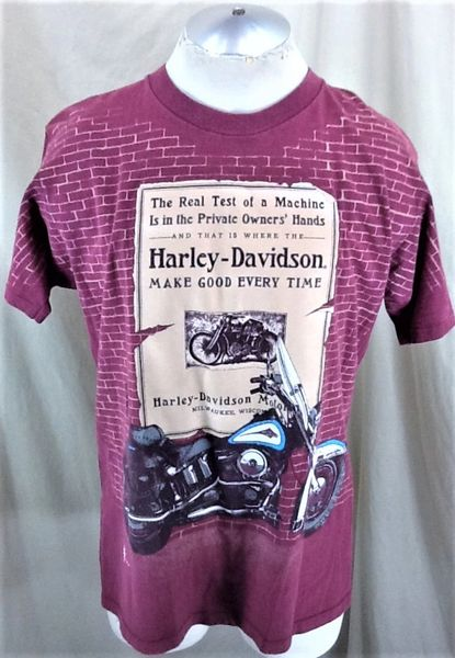 "Vintage 1995 Harley Davidson Motorcycles (Large) ""Make Good Every Time"" Retro Graphic T-Shirt"