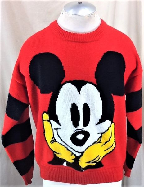 Vintage 90's Disney's Mickey Mouse (Large) Retro Graphic Cartoon Red Acrylic Sweater