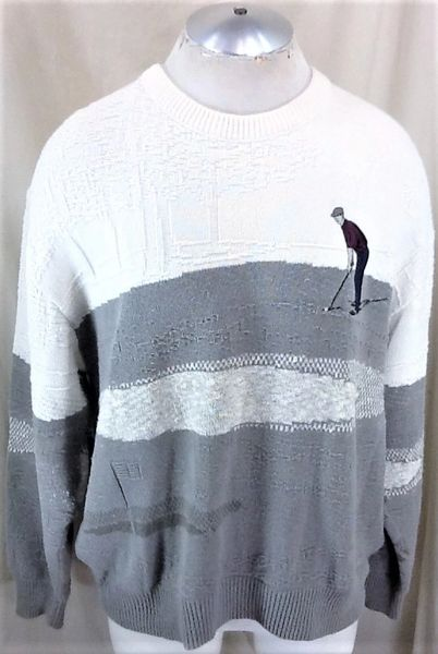 "Vintage 90's Golfing ""Chip Shot"" (XL) Retro All Over Graphic Acrylic Ugly Sweater"