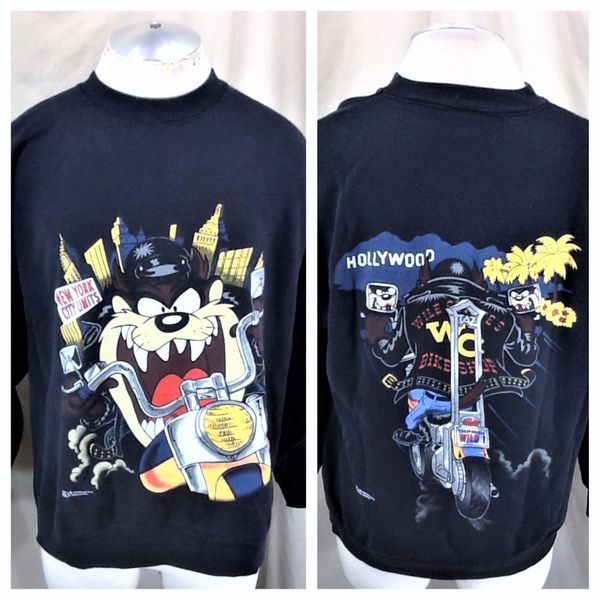 "Vintage 1994 Looney Tunes ""New York To Hollywod"" (Large) Retro Taz Devil Motorcycle Graphic Sweatshirt"