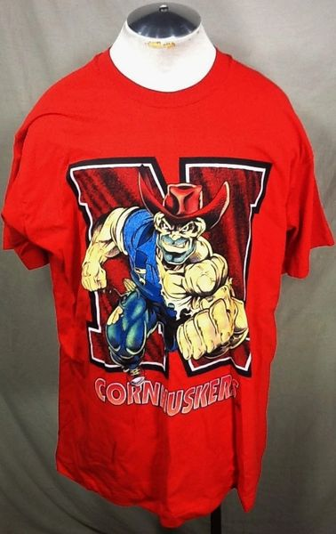 "Vintage 90's Nebraska Cornhuskers ""Herbie Husker"" (2XL) Retro NCAA Graphic Red T-Shirt"