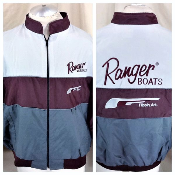 Vintage Swingster Ranger Fishing Boats (2XL) Retro Zip Up Light Weight Windbreaker Jacket