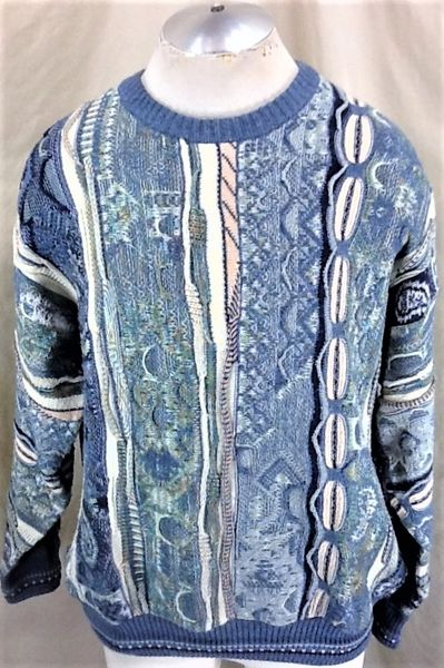 Vintage 90's Florence Tricot (Large) Retro Cosby Style Multi-Color Textured Sweater