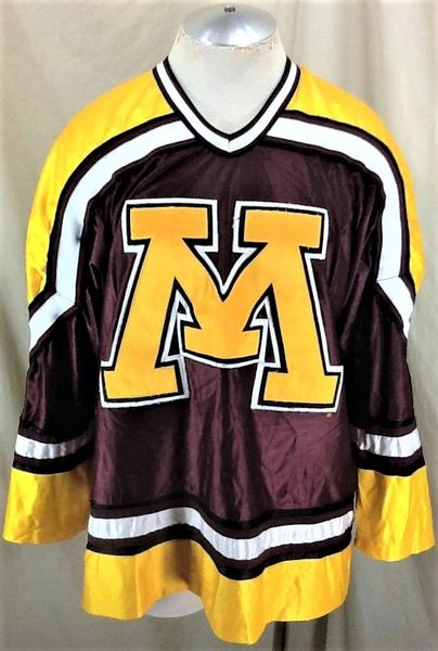 Vintage 80's Koronis Minnesota Gophers Hockey (Med) Retro NCAA Stitched Graphic Maroon Jersey