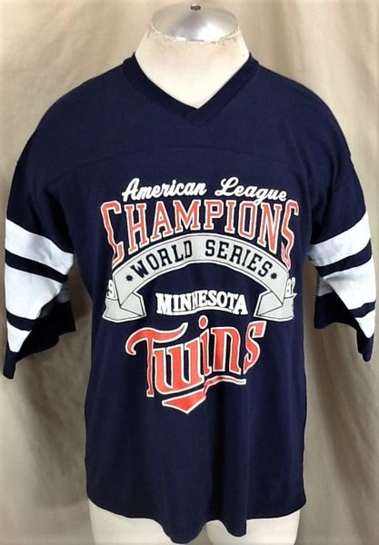 "Vintage 1987 Minnesota Twins Baseball Club (Large) Retro MLB ""League Champions"" Graphic T-Shirt"