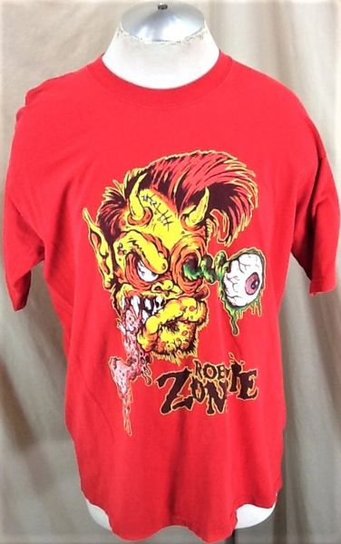"""Vintage 2002 Rob Zombie """"The Sinister Urge"""" (XL) Retro Graphic Cd Release Shirt"""