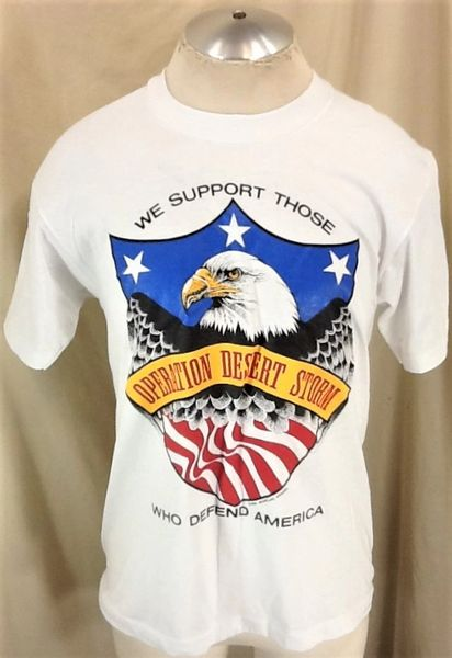Vintage 1991 Operation Desert Storm (Med/Large) Retro Armed Forces Single Stitch Graphic T-Shirt