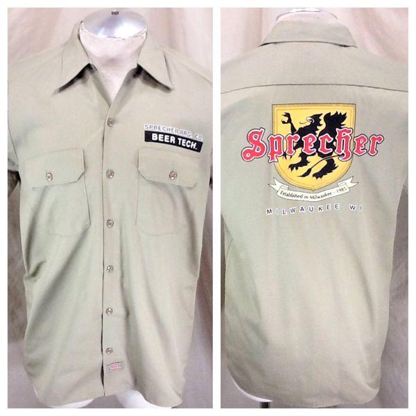 """Sprecher Brewery Milwaukee """"Beer Tech"""" (Med) Retro Breweriana Button Up Work Shirt"""