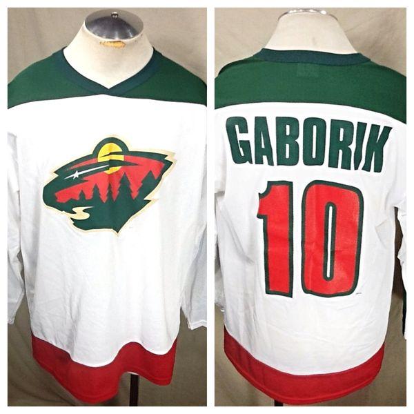 Vintage Minnesota Wild Marian Gaborik #10 (Large) NHL Hockey Polyester Graphic Jersey