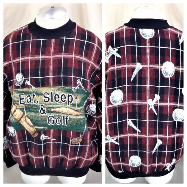 "Vintage 90's Golfing ""Eat, Sleep & Golf"" (L/XL) Retro All Over Graphic Acrylic Ugly Sweater"