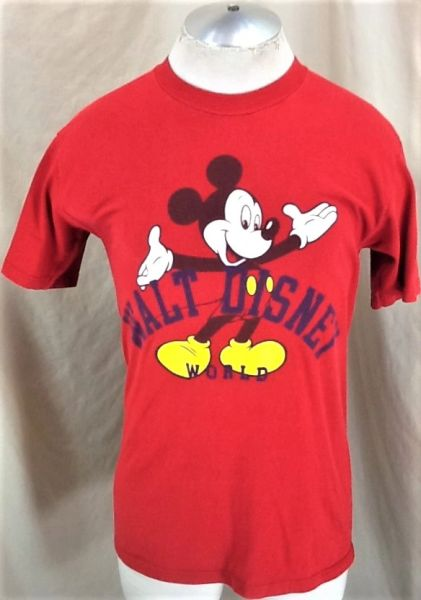 "Vintage 90's Dinsey Mickey Mouse ""Disney World"" (Med) Retro Graphic Cartoon Red T-Shirt"