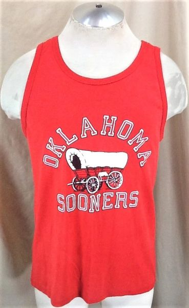 Vintage 90's Jerzees Oklahoma Sooners (Med/Large) Retro NCAA Graphic Tank Top Red T-Shirt