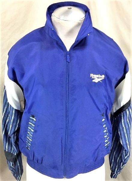 Vintage 90's Reebok Pullover (Medium) Zip Up Hooded Nylon Windbreaker Jacket