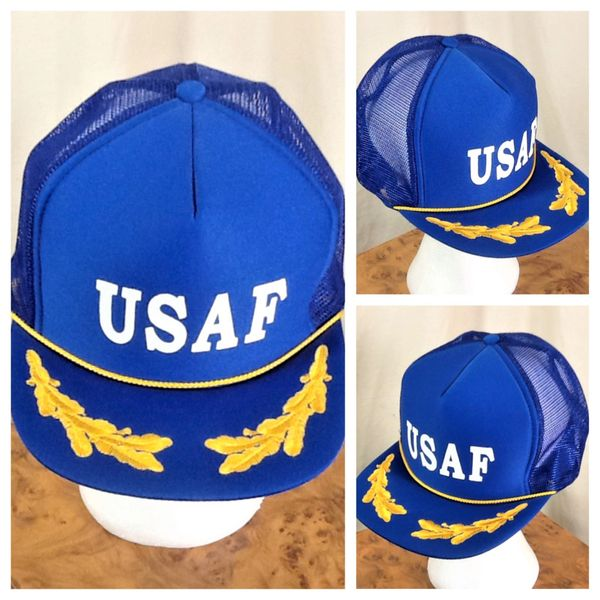 "Vintage 1980's United States Air Force ""Gold Leaf"" Retro Military Snap Back Trucker Hat"