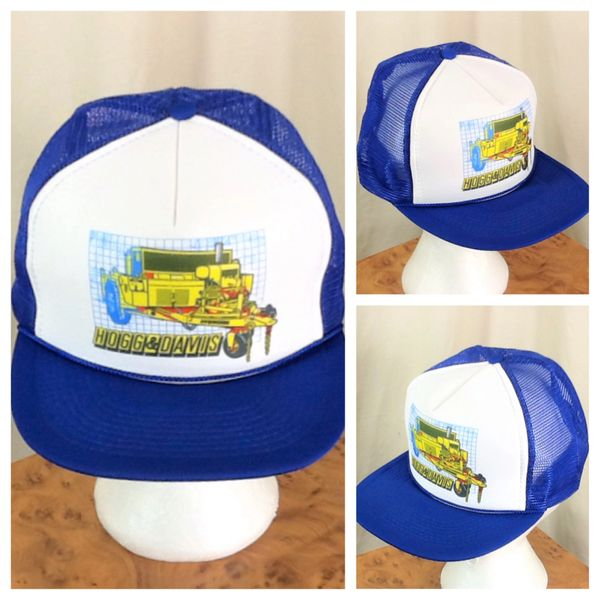 Vintage Hogg & Davis Power Reel Cable Dolly Graphic Farming Snap Back Trucker Hat