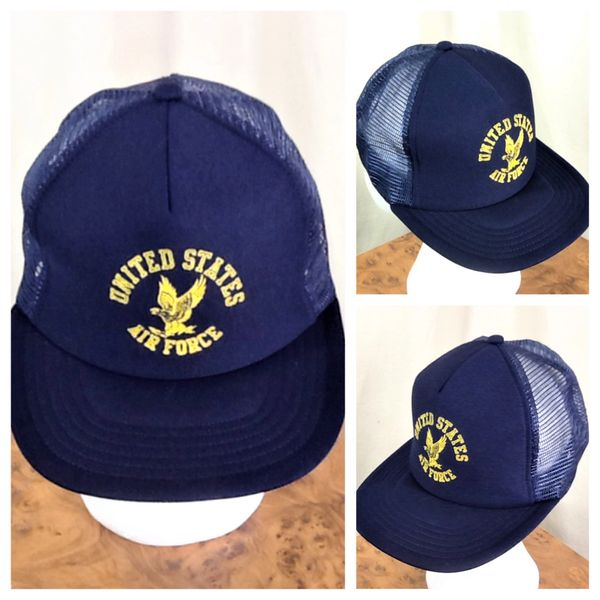 Vintage 1980's United States Air Force Retro Military Graphic Snap Back Trucker Hat