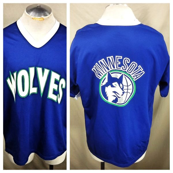Vintage 90's Minnesota Timberwolves Basketball (XL) Retro Wolves NBA Graphic Shooting Jersey