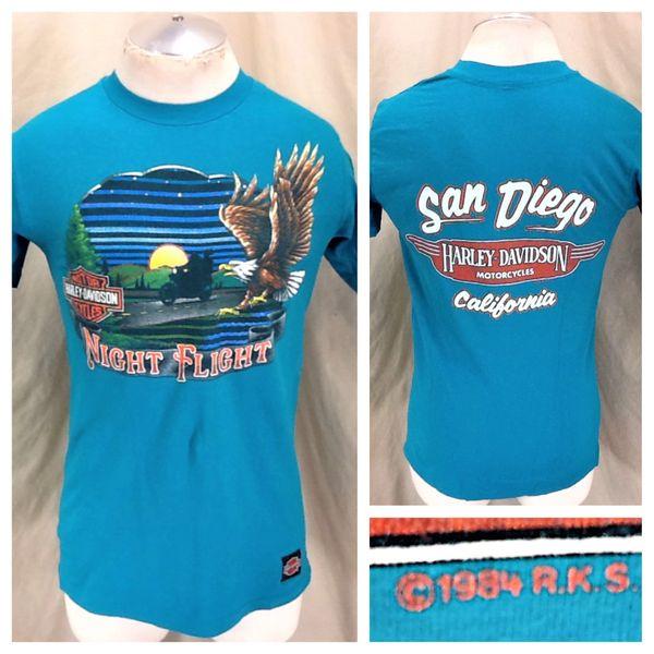 "Vintage 1984 Harley Davidson Motorcycles ""Night Flight"" (Medium) Retro Biker Graphic Shirt"