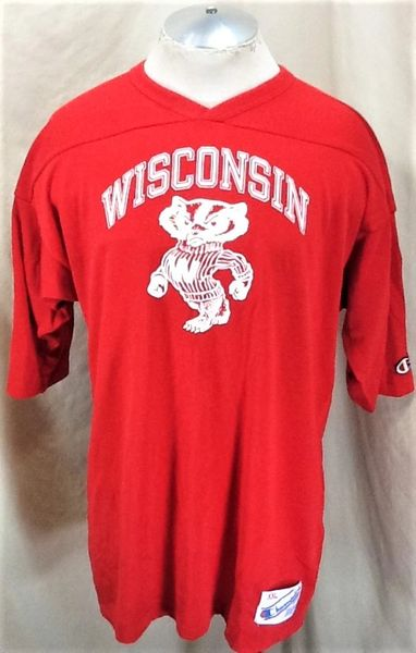 Vintage 90's Champion Wisconsin Badgers (2XL) Retro NCAA Graphic Heavy Knit Shirt
