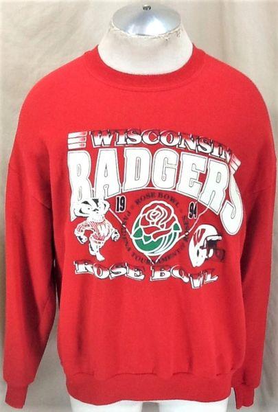 "Vintage 1994 Wisconsin Badgers ""Rose Bowl"" (XL) Retro NCAA Graphic Crew Neck Red Sweatshirt"