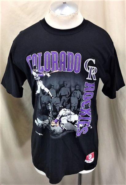 Vintage 90's Nutmeg Colorado Rockies MLB Baseball (Large) Retro MLB Baseball Graphic T-Shirt