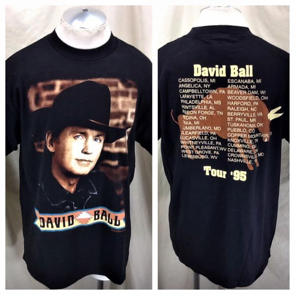 "Vintage 1995 Giant David Ball ""Tour 95"" (XL) Retro Country Music Concert Band T-Shirt"