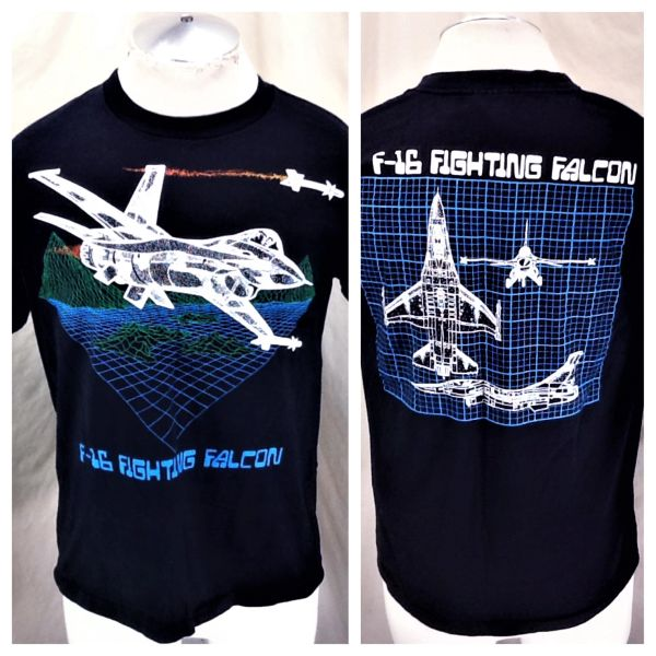 Vintage 90's Air Force F-16 Fighting Falcon (Medium) Retro Armed Forces Graphic 3D T-Shirt