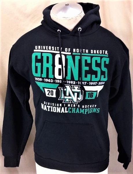 University of North Dakota Fighting Sioux Hockey (Small) Retro NCAA National Championship Hooded Sweatshirt