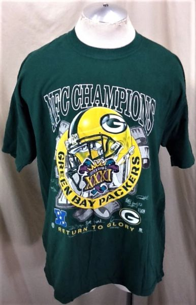 "Vintage 1997 Green Bay Packers ""Return To Glory"" (XL) Retro NFC Champions Graphic Green T-Shirt"