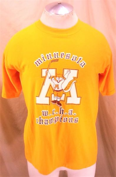 "Vintage 80's Minnesota Gophers ""WCHA Champion"" (Large) Retro NCAA Hockey Graphic T-Shirt"