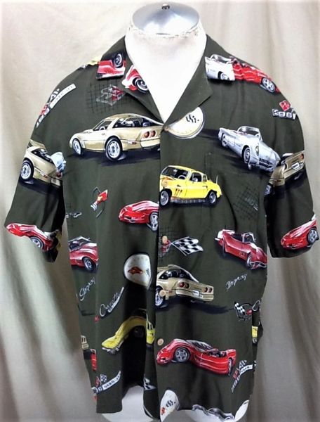 Vintage Chevy Corvette Sting Ray 396 Turbo Jet (XL) Button Up Graphic Hawaiian Shirt