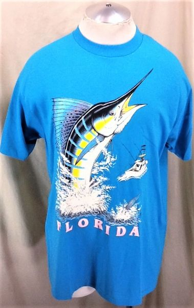 "Vintage 90's Florida Tourism ""Marlin Fishing"" (L/XL) Retro Single Stitch Graphic T-Shirt Blue"