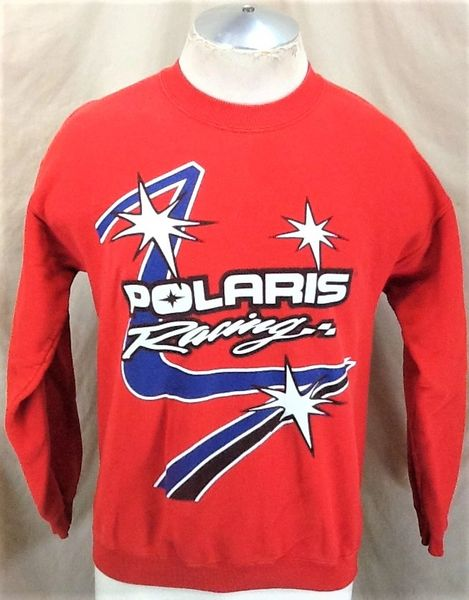 Vintage Polaris Racing Snowmobiles (Medium) Long Sleeve Graphic Crew Neck Sweatshirt
