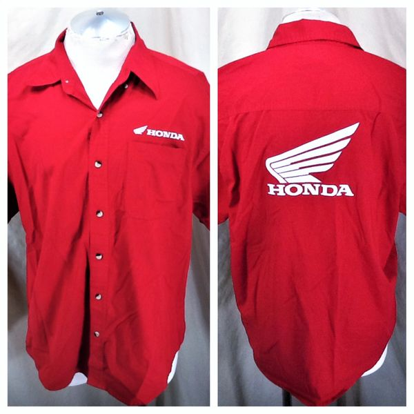 Honda Racing Button Up (Large) Short Sleeve Embroidered Shop Shirt