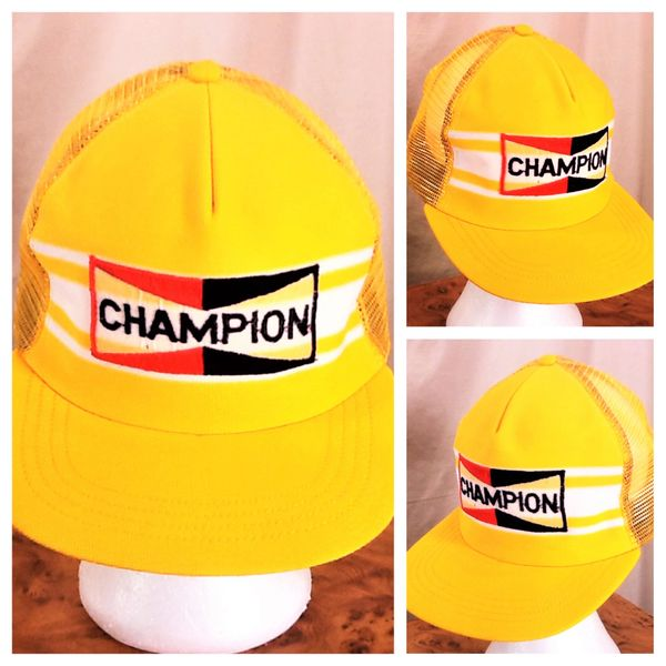 Vintage 80's Champion Spark Plugs Gear Heads (Small / Med) Retro Graphic Snap Back Trucker Hat