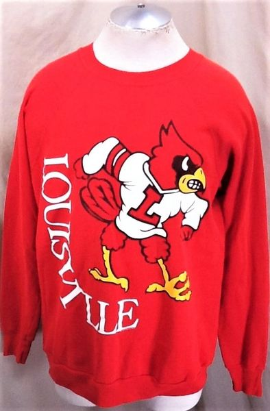 "Vintage 90's Louisville Cardinals ""Classic Logo"" (L/XL) Retro NCAA Graphic Crew Neck Sweatshirt Red"