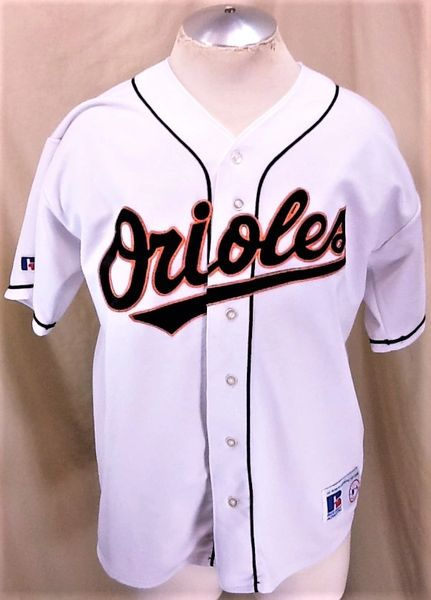 Vintage 90's Russell Baltimore Orioles Baseball (L/XL) Retro MLB Button Up White Jersey