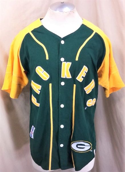 sale retailer 7d035 8de25 Vintage 90's Green Bay Packers Baseball Jersey (Small) Button Up NFL  Football Jersey