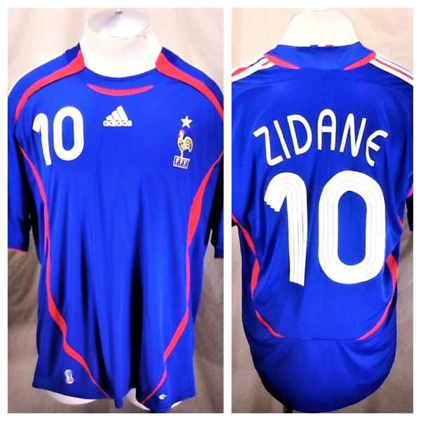 new style ef6a7 0cbdb 2006 Adidas World Cup Soccer Zinedine Zedene #10 (XL) Retro Graphic  Climacool Soccer Jersey