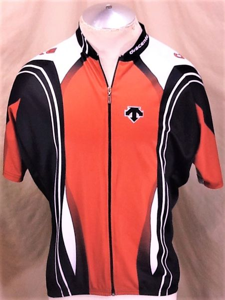 Descente Cycling Team Full Zip Up (XL) Retro Graphic Red Cycling Jersey