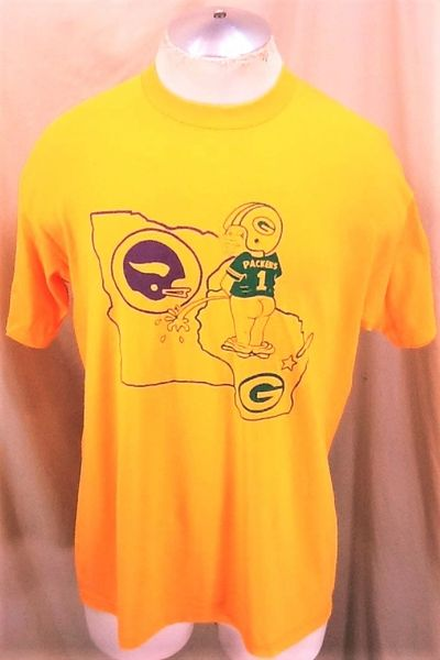 "Vintage 90's Green Bay Packers ""Rival State"" (Large) Retro NFL Football Single Stitch Graphic T-Shirt"