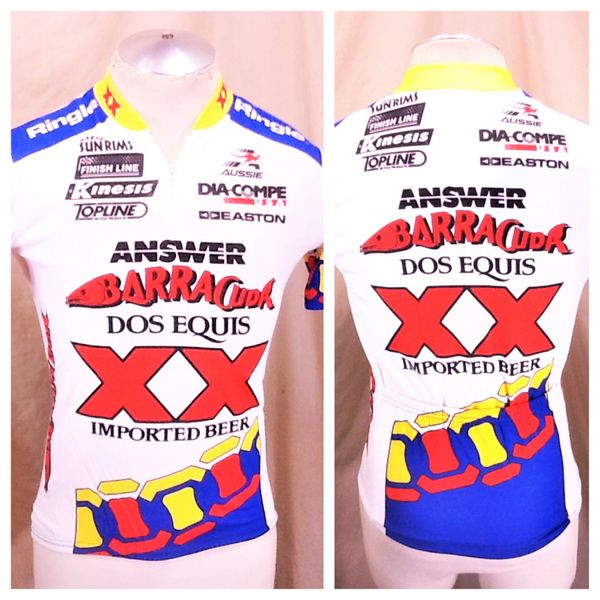 Vintage Aussie Dos Equis Imported Beer (Small) Retro All Over Graphic 1/4 Zip Up Cycling Jersey