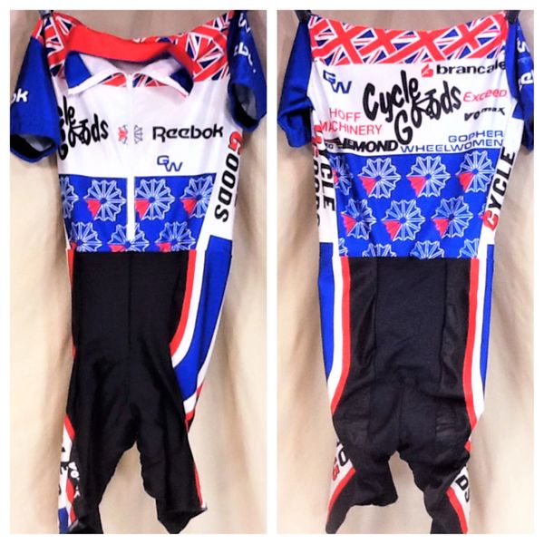 Vintage VOmax Reebok Cycling Team One-Piece (Small) Retro All Over Graphic Cycling Jersey
